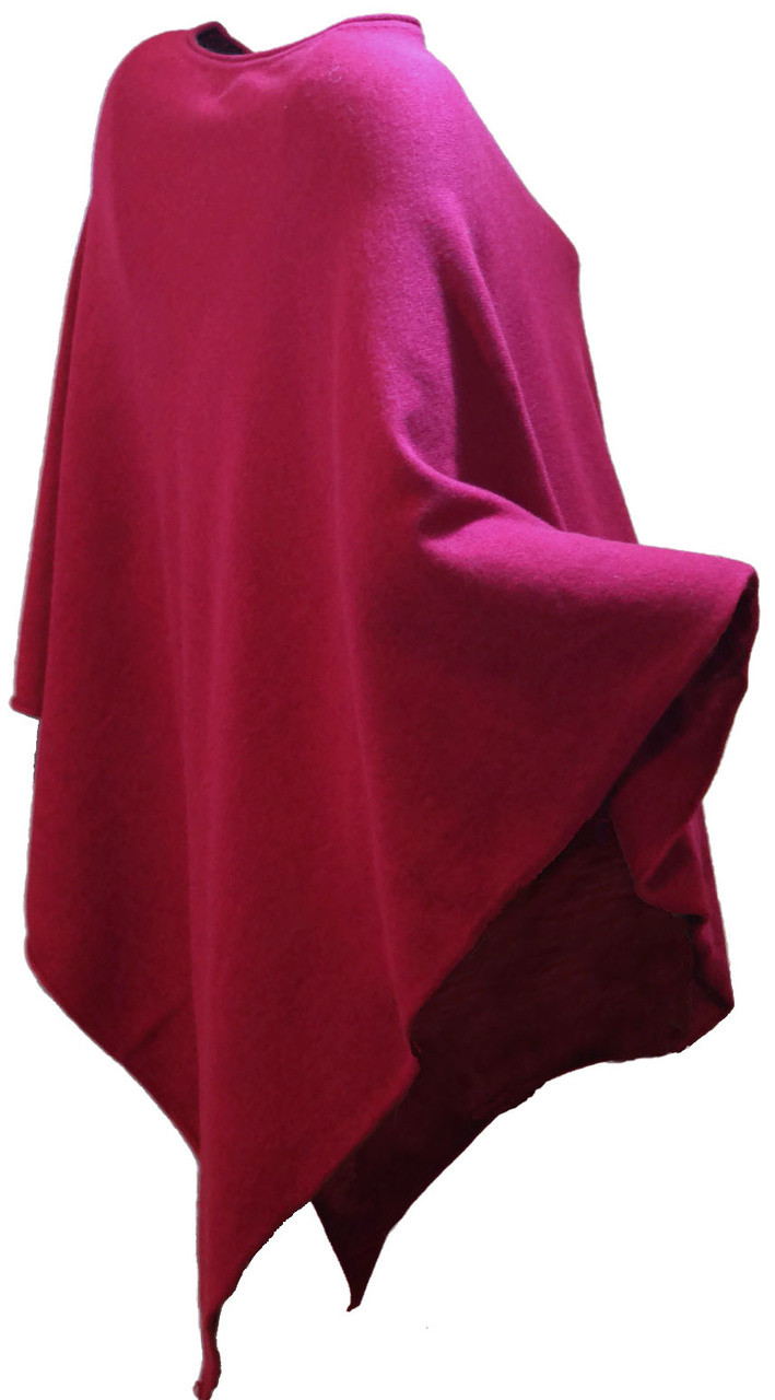 7d8ddda49 Red 100% Cashmere Sweater Knit Poncho Top - One Size Fits Most - Up to 2X