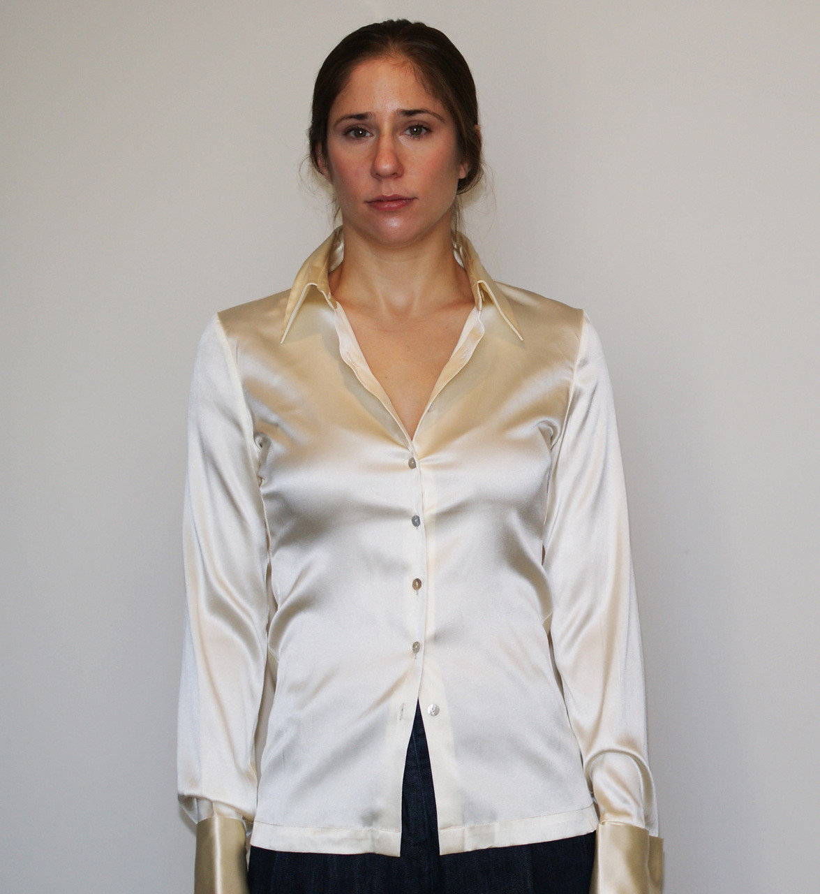 Women S Silk Stretch Charmeuse Long Sleeve French Cuff Shirt Blouse