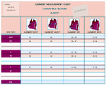 SIZE Chart - Women's Silk French Cuff Blouses