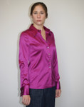 Front Side - Fuchsia - Stretch Silk Satin, Long Sleeve, French Cuff Button-down Blouse   Model Size 4, 34B  Height 5ft 9in, Wearing Size: Small