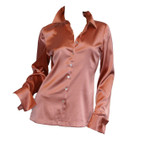 Salmon Silk Blouse  Front