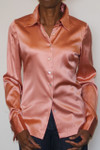 Salmon Silk Stretch French Cuff Blouse  - FRONT Model