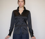 Model Wearing  Long Sleeve French Cuff Blouse - Black Stretch Silk