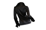 Back Long Sleeve French Cuff Blouse - Black Stretch Silk