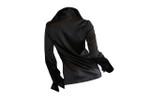 Back Long Sleeve French Cuff Blouse - Black Stretch Silk