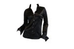 Front Long Sleeve French Cuff Blouse - Black Stretch Silk