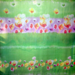 Large 100% Silk Chiffon Scarf - Resort - Green Tulip Print  - SOLD OUT