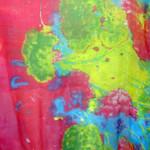 Extra-Large Pink & Green Tye-Dye Print Silk Chiffon Wrap
