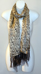 Ladies Long 100% Silk Charmeuse Scarf - Black and White Print