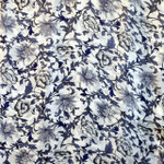 Long 100% Silk Charmeuse Scarf - Blue Porcelain Print