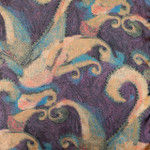 Long  100% Silk Charmeuse Scarf - Blue Purple Paisley Print