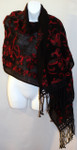 Women's Large Black Winter Wool Shawl Scarf - Red Multi Felted Wool Embroidery Trim