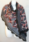Women's Large Grey Winter Wool Shawl Scarf - Black Felted Wool Embroidery Trim