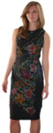 Floral Trellis Silk Sheath Dress