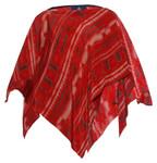 100% SILK PONCHO - Red Tie-Dye Print