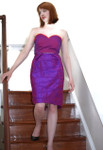Ladies Silk Formal Cocktail Dress - Petite Pois - Knee Length - Model