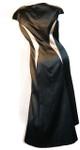 Women's Silk High-Low Geometric Dress Black Cap-Sleeve Back