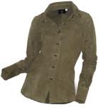 Women's Goatskin Suede Shirt - Green - Front