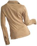 Women's Goatskin Suede Shirt - Beige - Back