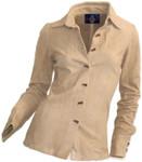 Women's Goatskin Suede Shirt - Beige - Front