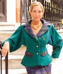 Women's Cashmere Dolman Sleeve Jacket with Peplum and Merino Wool Contrast