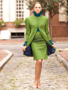 Womens's Elegant 100% Cashmere  Knee-Length Coat in Avocado Green and Black Sable