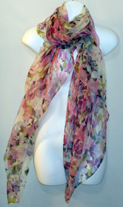 Extra-Large Pastel Pink, Green and Violet Floral Print Silk Chiffon Scarf - SOLD OUT
