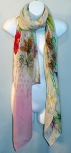 Silk/Wool Scarf - Floral