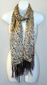 Ladies Long 100% Silk Charmeuse Scarf - Black and White Print