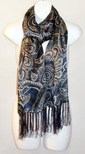 Women's Long 100% Silk Charmeuse Scarf - Blue Paisley Print