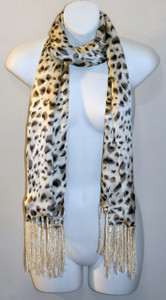Long 100% Silk Charmeuse Scarf - Black & White Leopard Print