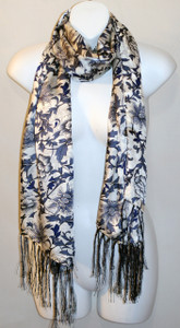 Long 100% Silk Charmeuse Scarf - Blue Porcelain Print