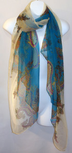 Large 100% Silk Chiffon Scarf - Resort - Blue Paisley Print