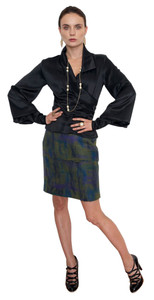 Ladies 100% Pure Merino Wool Skirts - Blue-Green Impressionist Plaid