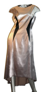 Women's Silk High-Low Geometric Dress Champaign-Beige Cap-Sleeve Front