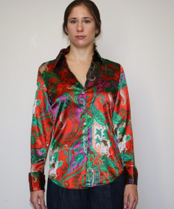 Ladies Paisley Design Polyester Blouse - Machine Washable