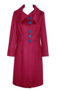 Magenta w' Blue Contrast Cashmere Merino Wool Coat Calf Length