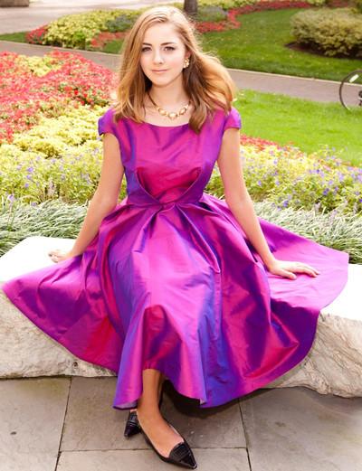 100% Silk Taffeta Cocktail Dress - Calf Length, Full Angle Pleated Skirt & Short Sleeve