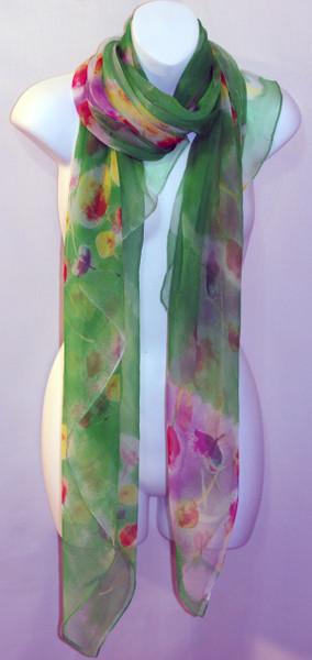 Large 100% Silk Chiffon Scarf - Resort - Green Tulip Print  - SOLD OUT