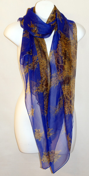 Large 100% Silk Chiffon Scarf - Resort - Blue and Gold Paisley Print  -  SOLD OUT