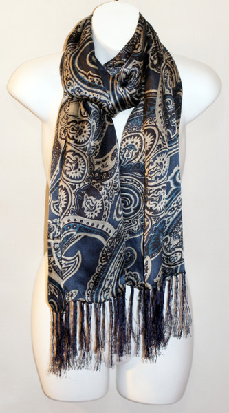Women's Long 100% Silk Charmeuse Scarf - Blue Paisley Print