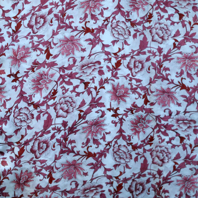 Ladies Long 100% Silk Charmeuse Satin Scarf - Red Floral Multi Color Print
