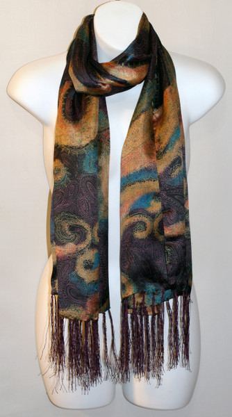 Long  100% Silk Charmeuse Scarf - Blue Purple Paisley Print