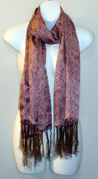 Long 100% Silk Charmeuse Scarf - Pale Pink Paisley Print