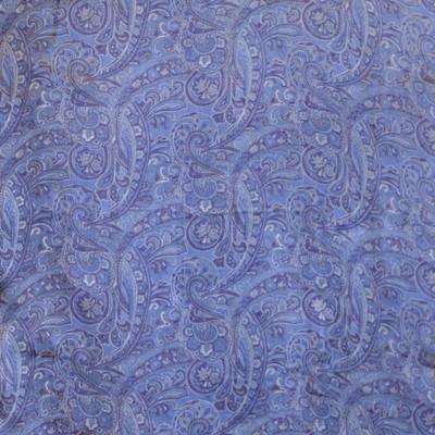 Long 100% Silk Charmeuse Scarf - Pale Blue Paisley Print