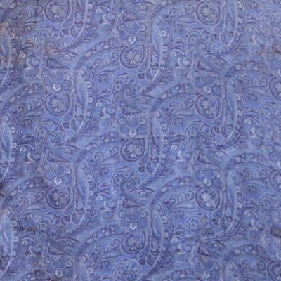 Long 100% Silk Charmeuse Scarf - Pale Blue Paisley Print