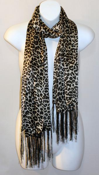 Long 100% Silk Charmeuse Scarf - Leopard Print