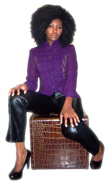 Ladies Genuine Lambskin Leather Black Panel Pants