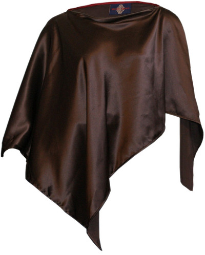 100% SILK PONCHO - Chocolate