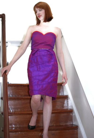 Ladies Silk Formal Cocktail Dress - Petite Pois - Knee Length - Model
